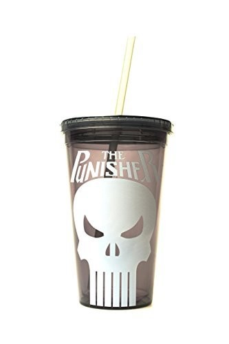 Silver Buffalo PE15087 Marvel The Punisher BPA-Free Plastic Cold Cup with Lid and Straw, 16 oz., Black
