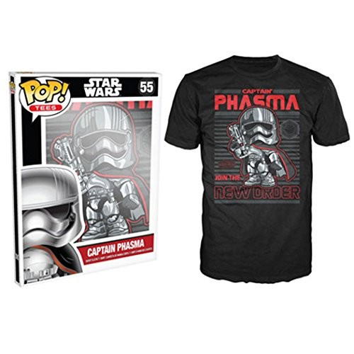 Funko Men's Pop! T-Shirts: Star Wars Ep 7 - Captain Phasma, Black, 2X