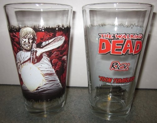 Toon TumblerTM: RICK (WALKING DEAD) 16 Ounce pint glass